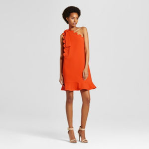 Orange One Shoulder Dress Bow Scallop